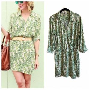 Cabi green leafy print shirt dress style# 280